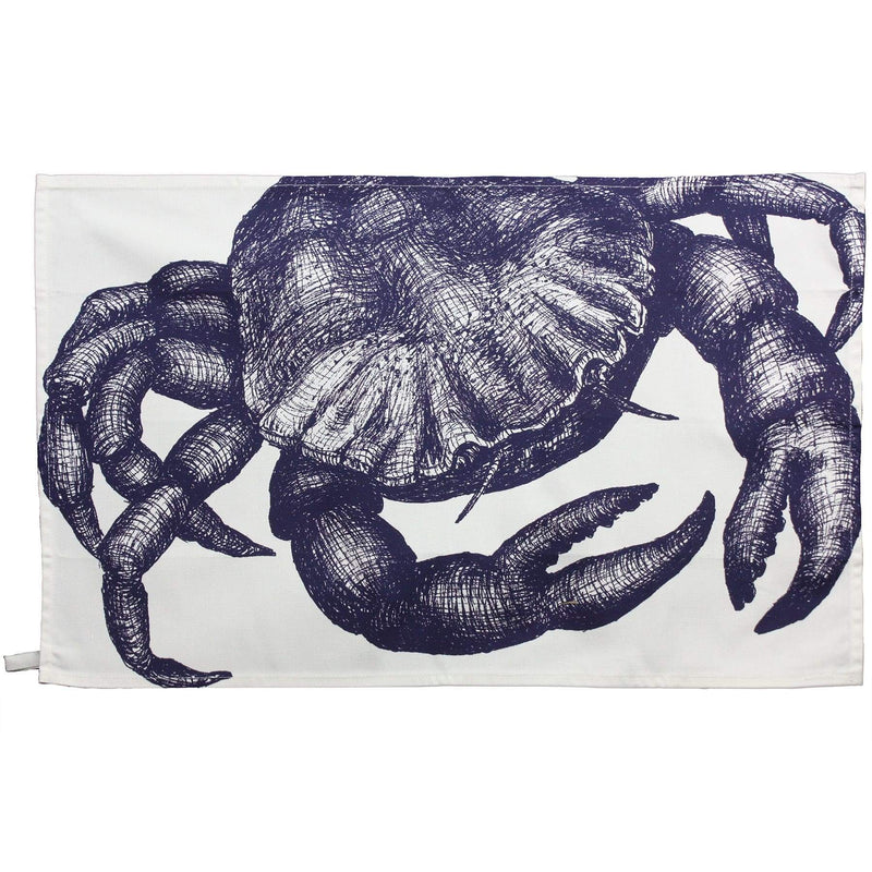 Blue And White Cotton Tea Towel With Crab Design -Kitchen & Dining- Cream Cornwall