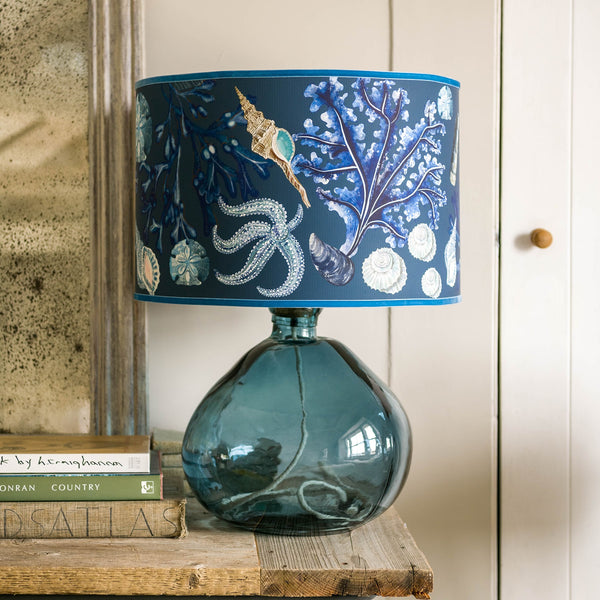 Rockpool Ink Blue Lampshade -Homeware- Cream Cornwall