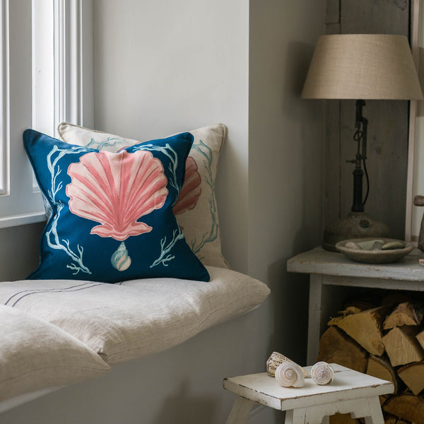 Manderley Pink & Ink Blue Linen Cushion Cover -Homeware- Cream Cornwall