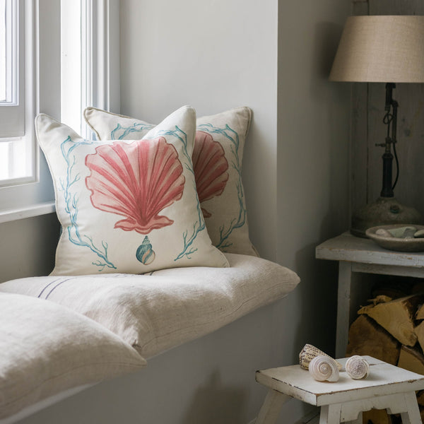 Manderley Pink & Off White Linen Cushion Cover -Homeware- Cream Cornwall
