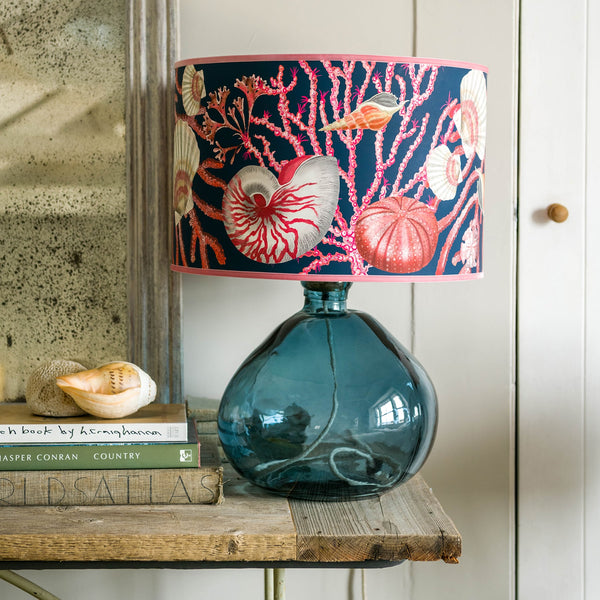 Shellseeker Ink Blue Lampshade -Homeware- Cream Cornwall