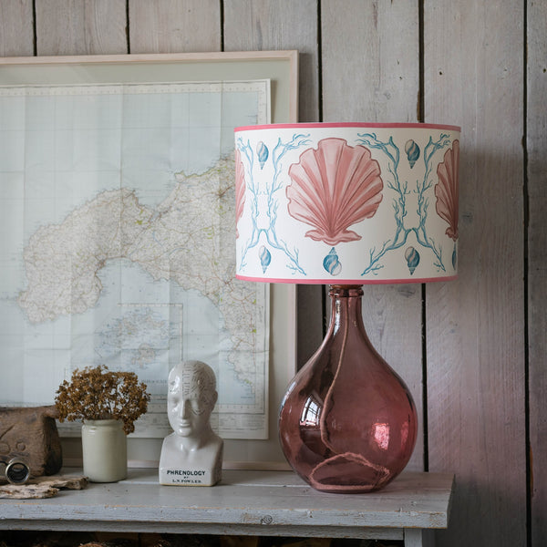 Manderley Pink & Off White Lampshade -Homeware- Cream Cornwall