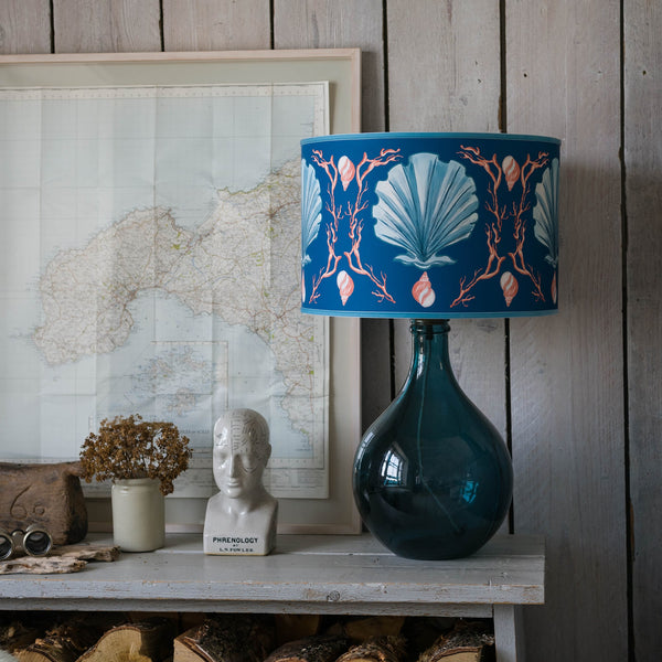 Manderley Blue & Ink Blue Lampshade -Homeware- Cream Cornwall