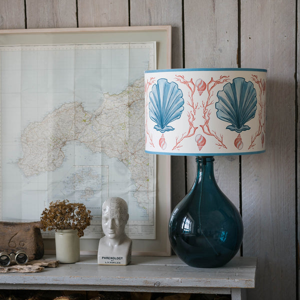 Manderley Blue & Off White Lampshade -Homeware- Cream Cornwall