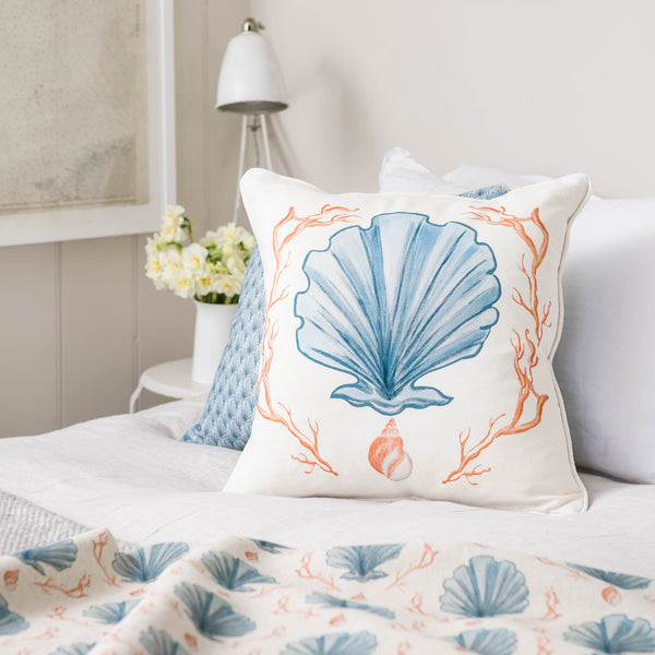Manderley Blue & Off White Linen Cushion Cover -Homeware- Cream Cornwall