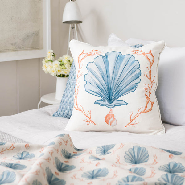 Manderley Blue & Off White Linen Fabric -Homeware- Cream Cornwall
