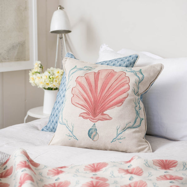 Manderley Pink & Natural Linen Cushion Cover -Homeware- Cream Cornwall