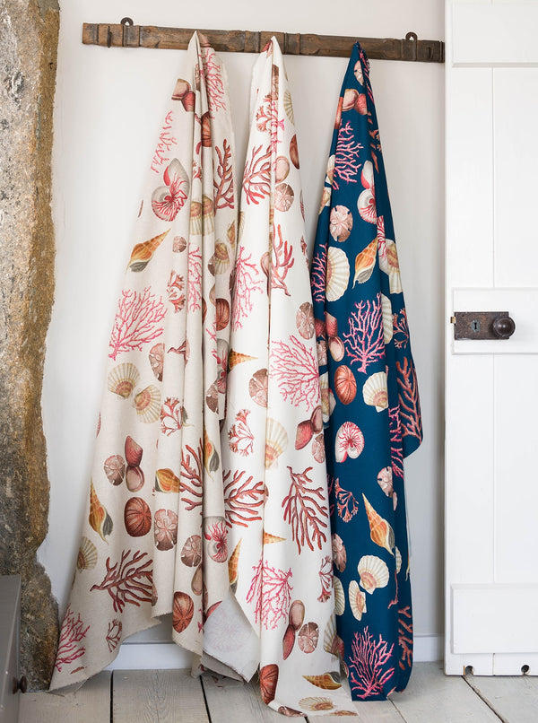 Shellseeker Natural Linen Fabric -Homeware- Cream Cornwall