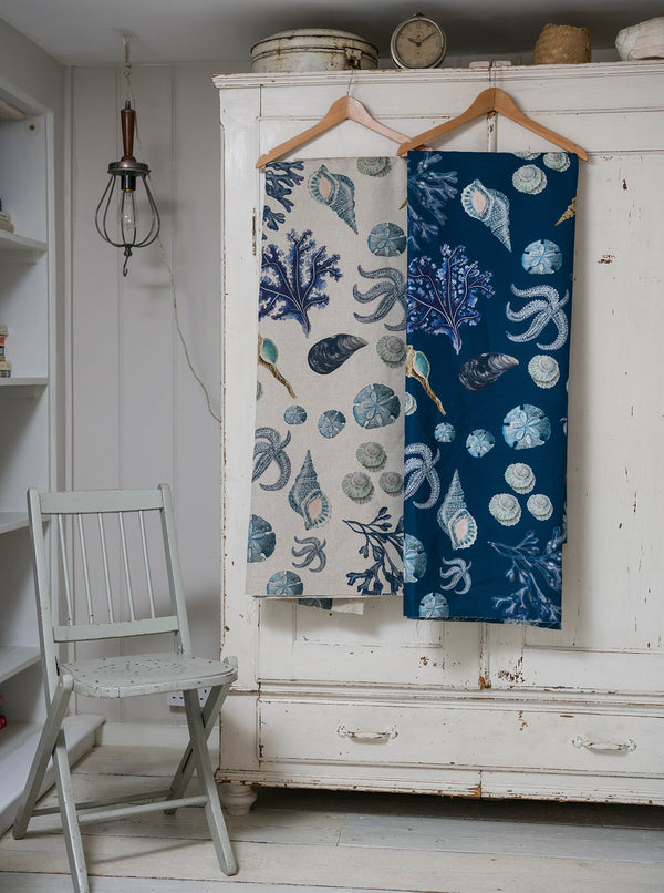 Rockpool Ink Blue Linen Fabric -Homeware- Cream Cornwall