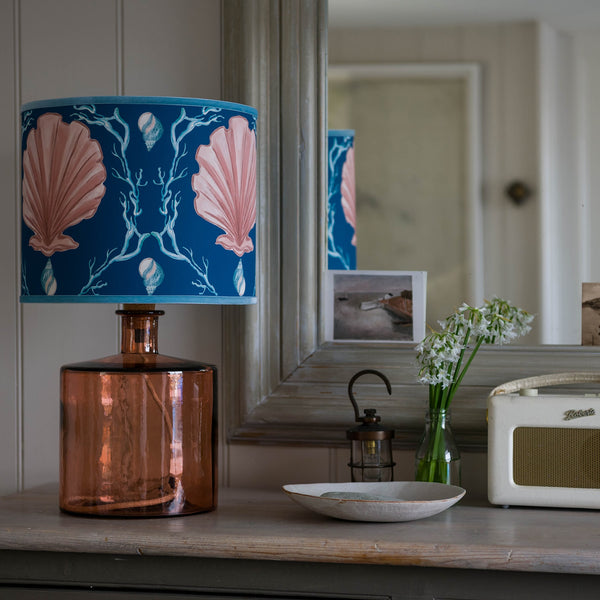Manderley Pink & Ink Blue Lampshade -Homeware- Cream Cornwall