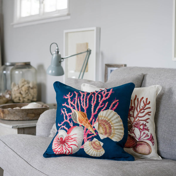 Shellseeker Ink Blue Linen Cushion Cover -Homeware- Cream Cornwall