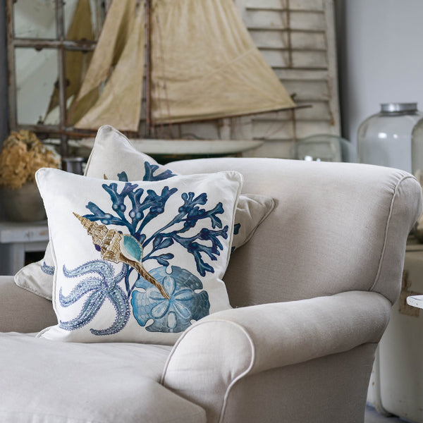 Saltwater Off White Linen Cushion Cover -Homeware- Cream Cornwall