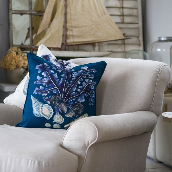 Rockpool Ink Blue Linen Cushion Cover -Homeware- Cream Cornwall