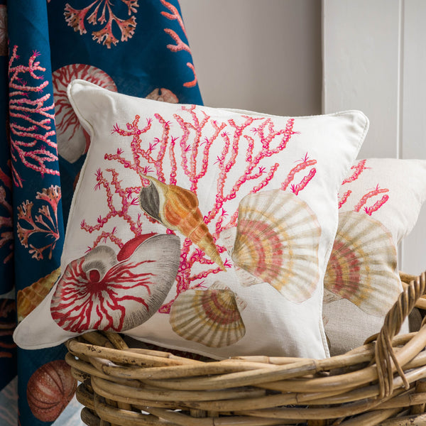 Shellseeker Off White Linen Cushion Cover -Homeware- Cream Cornwall