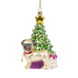 Pug Under The Christmas Tree Christmas Decoration -Accessories- Cream Cornwall