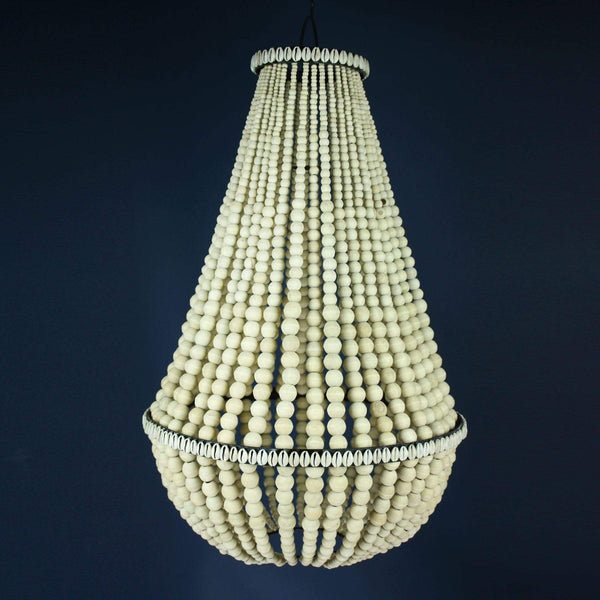 Wooden Bead Bell Chandelier with Cowrie Shells -Homeware- Cream Cornwall