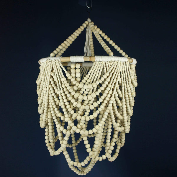 Wooden Bead Loop Chandelier -Homeware- Cream Cornwall