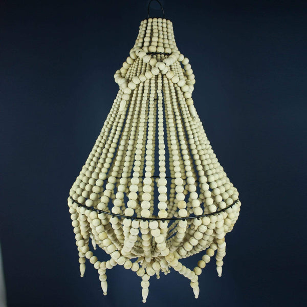 Wooden Bead Tassel Chandelier -Homeware- Cream Cornwall