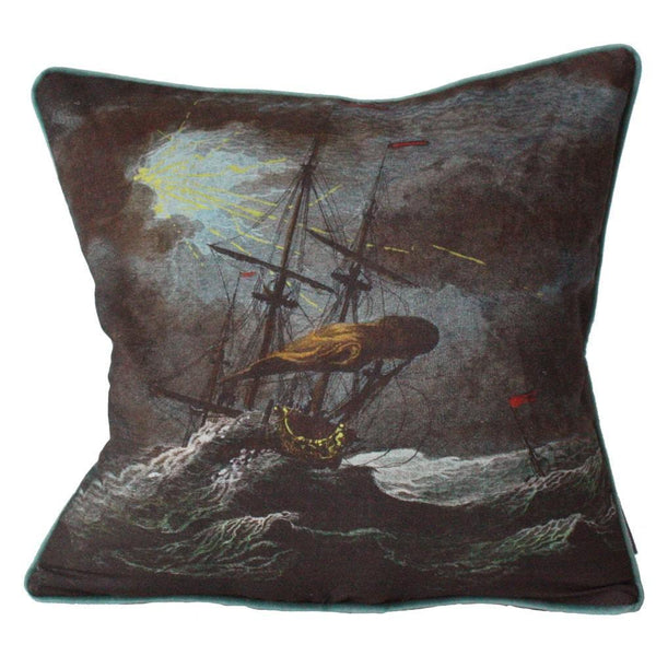 Shipwreck Night Cushion Square Cover -Homeware- Cream Cornwall