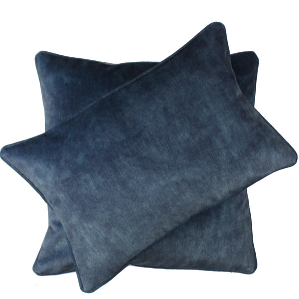 Dive-In Blue Velvet Cushion Cover- Square -Homeware- Cream Cornwall