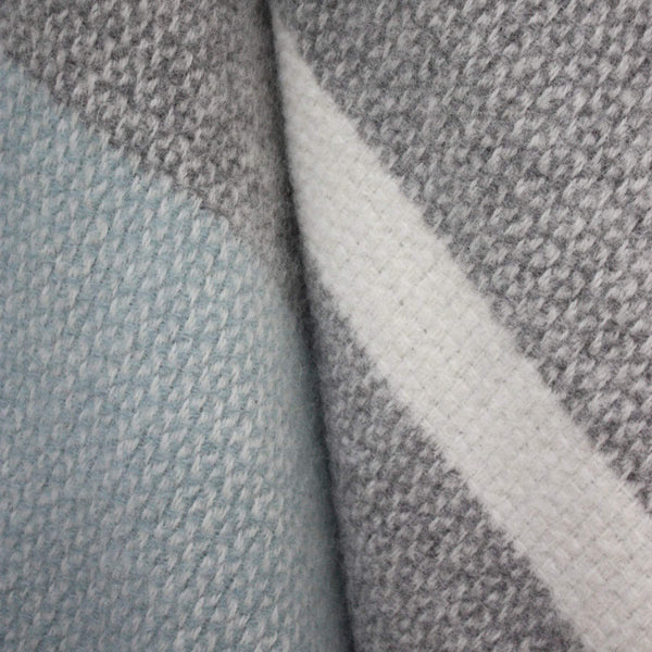 Duck Egg Blue And Grey Pure New Wool Throw -Homeware- Cream Cornwall