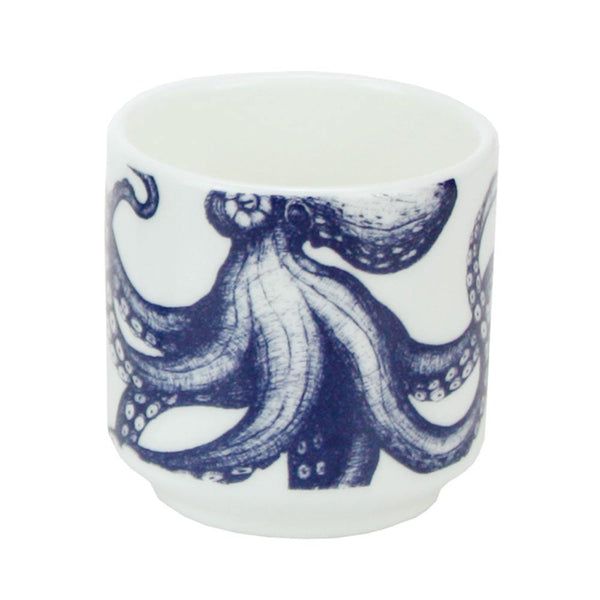 Blue And White Bone China Egg Cup With Octopus Design -Kitchen & Dining- Cream Cornwall