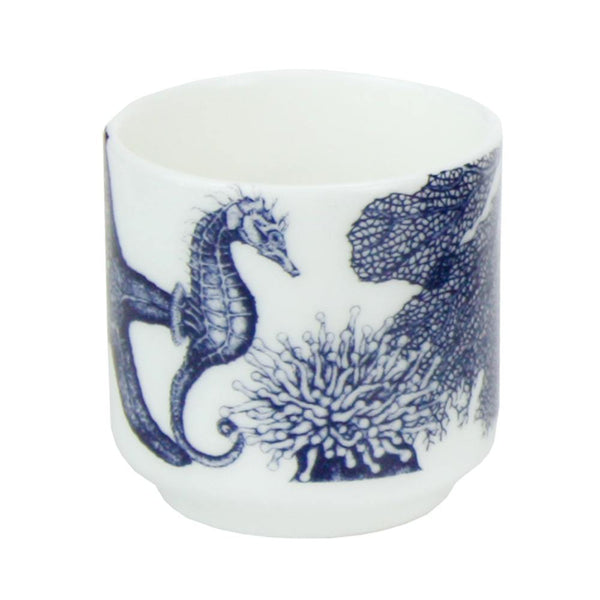 Blue And White Bone China Egg Cup With Seahorse Design -Kitchen & Dining- Cream Cornwall