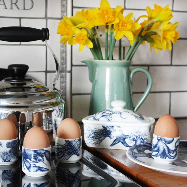 Blue And White Bone China Egg Cup With Jellyfish Design -Kitchen & Dining- Cream Cornwall