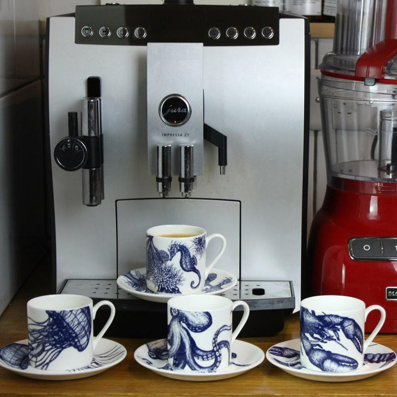 Blue And White Bone China Espresso Cup & Saucer With Jellyfish Design -Kitchen & Dining- Cream Cornwall