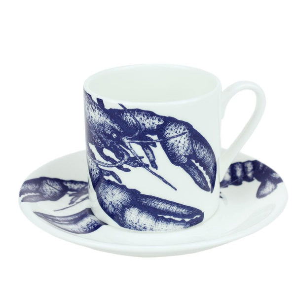 Blue And White Bone China Espresso Cup & Saucer With Lobster Design -Kitchen & Dining- Cream Cornwall