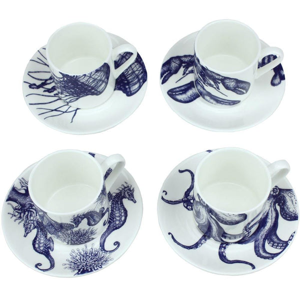 Blue And White Bone China Espresso Cup & Saucer With Seahorse Design -Kitchen & Dining- Cream Cornwall