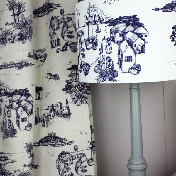 Organic Linen/Cotton Mix Fabric In Cornish Toile Design -Homeware- Cream Cornwall