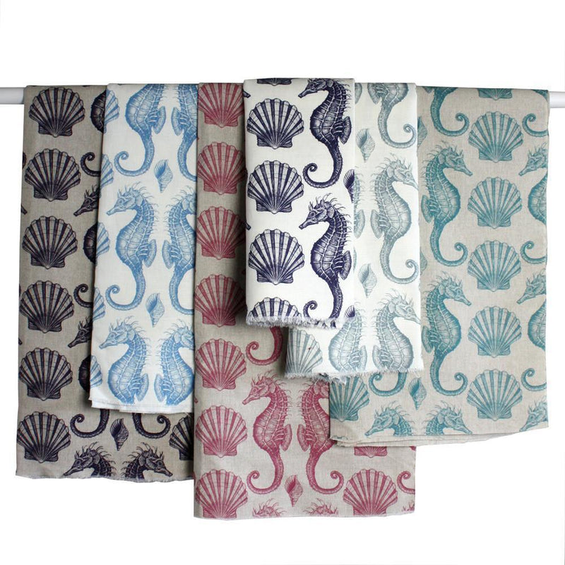 Organic Cotton/Linen Mix Fabric In Seahorse Design -Homeware- Cream Cornwall