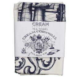 Blue And White Cotton Tea Towel With Falmouth Design -Kitchen & Dining- Cream Cornwall