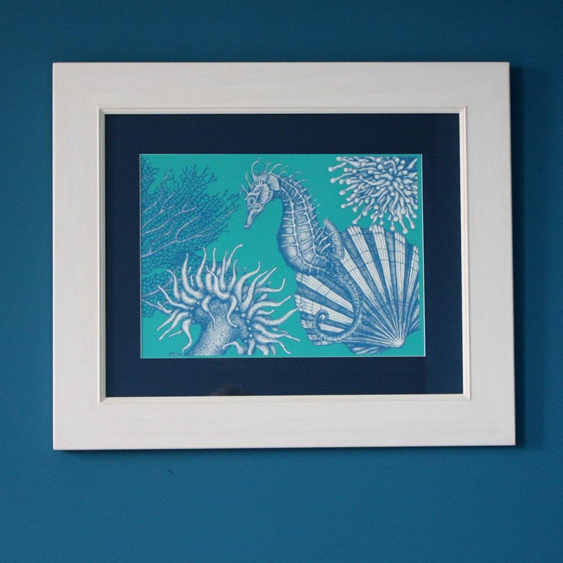Seahorse Scene Art Print In Turquoise And Blue In Three Sizes - A2, A3 And A4 -Accessories- Cream Cornwall
