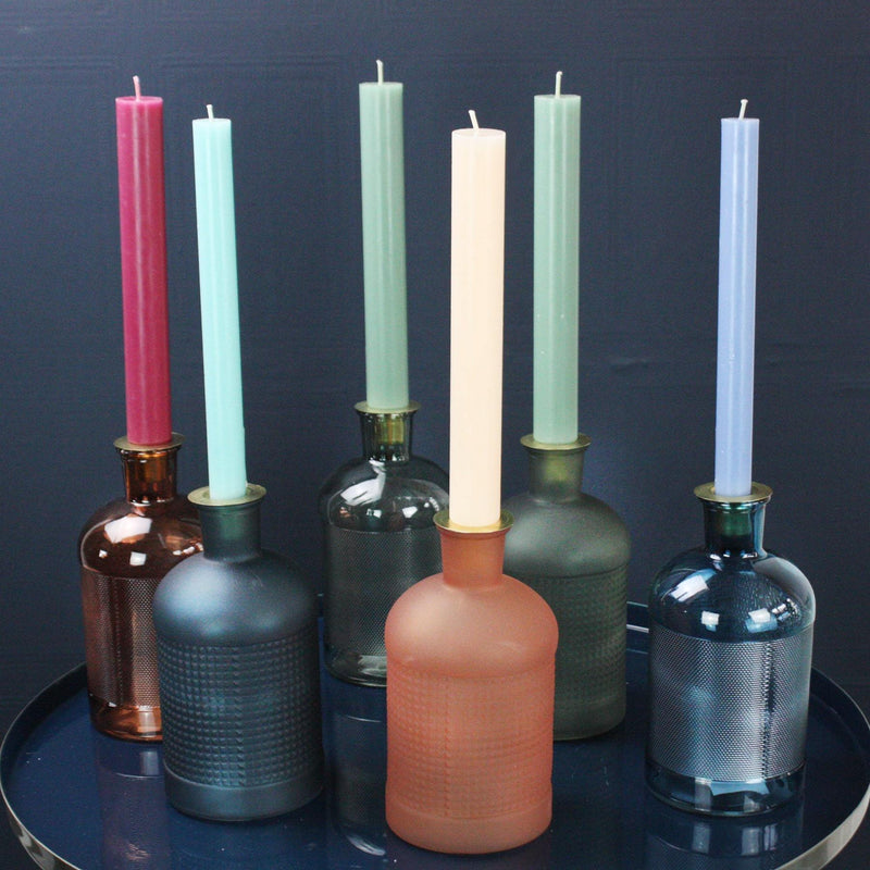 Green Glass Bottle Candle Holder -Accessories- Cream Cornwall