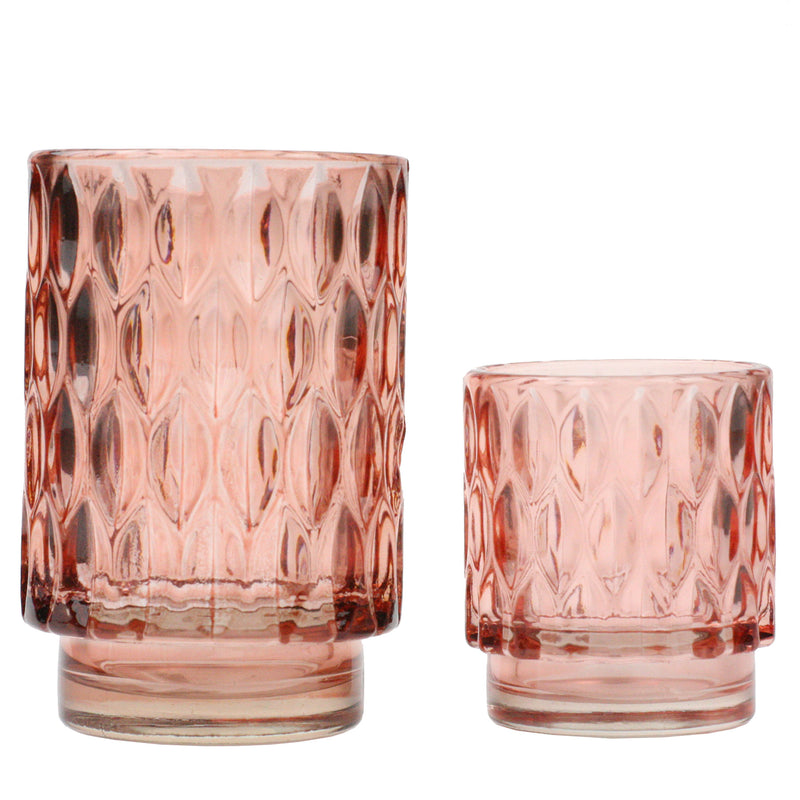 Textured Glass Tea Lights-Coral -Accessories- Cream Cornwall