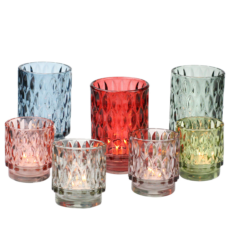 Textured Glass Tea Lights - Ruby Red -Accessories- Cream Cornwall