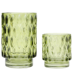 Textured Glass Tea Lights - Olive -Accessories- Cream Cornwall