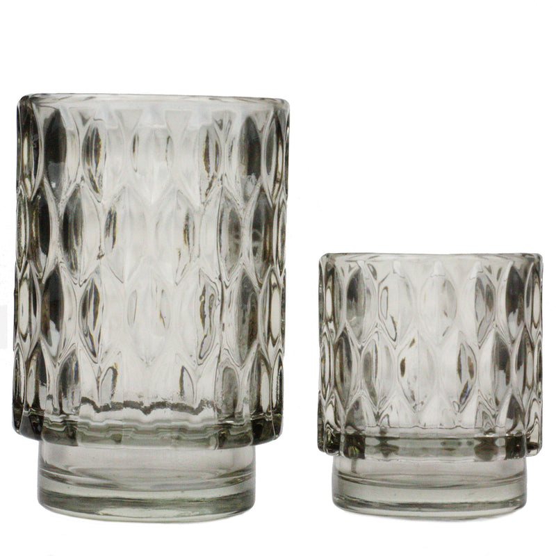 Textured Glass Tea Lights - Smoke -Accessories- Cream Cornwall