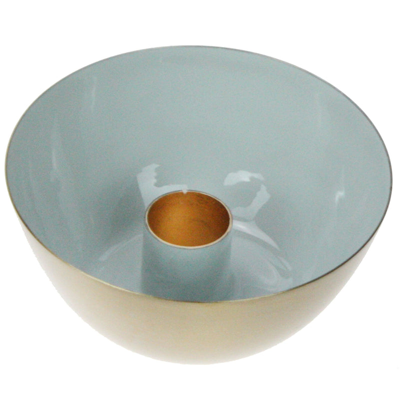 Aqua & Gold Candle Holder -Accessories- Cream Cornwall
