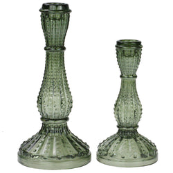 Textured Glass Candlestick - Antique Green -Accessories- Cream Cornwall