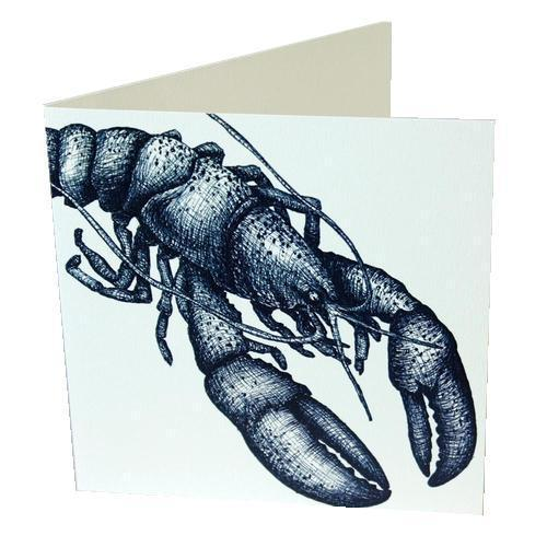 Lobster Card - cream cornwall