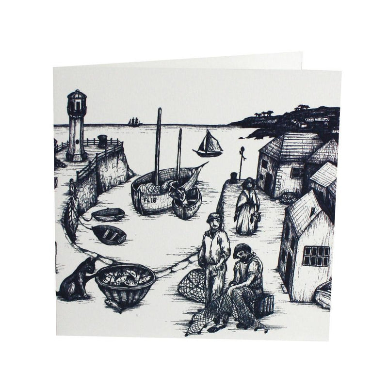 Harbour Scene Card -Accessories- Cream Cornwall