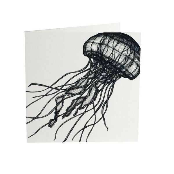 Jellyfish Card - cream cornwall