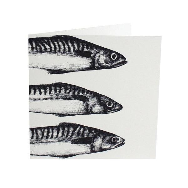 Mackerel Heads Card - cream cornwall