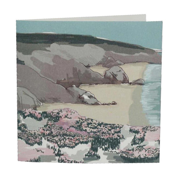 Sea Thrift Card - cream cornwall