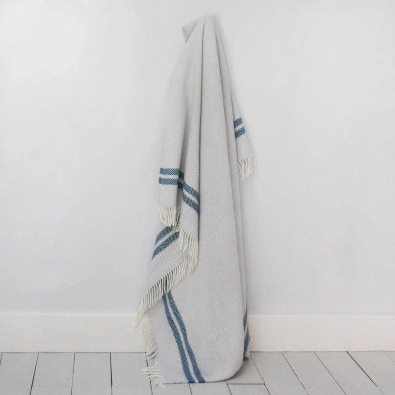 Ecru & Ink Herringbone Pure New Wool Throw -Homeware- Cream Cornwall