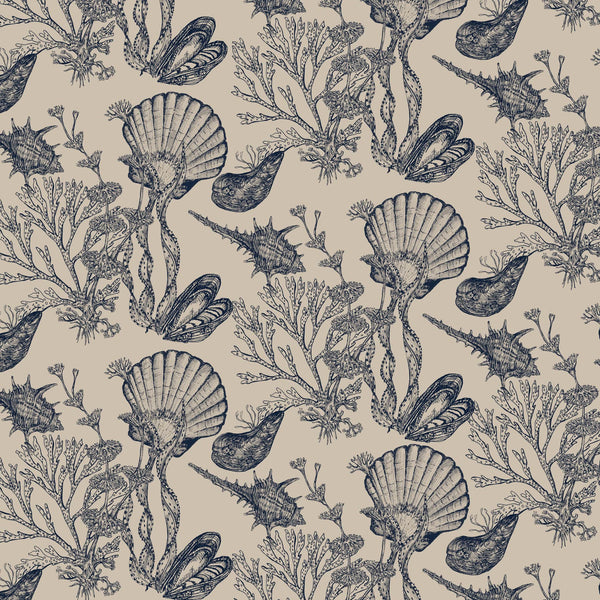 Helford Shell Organic Linen Navy On Natural - Cream Cornwall