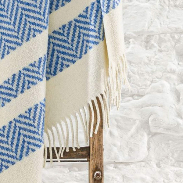 Hayle Recycled Wool Throw In Cobalt Blue And Cream Stripe With Fringes -Homeware- Cream Cornwall